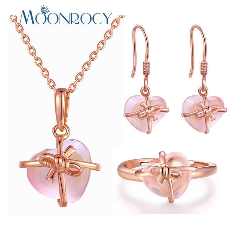 MOONROCY Rose Gold Color Heart Crystal Ross Quartz Pink Opal Necklace Earrings and Ring Jewelry Set for Cute Jewelry Women