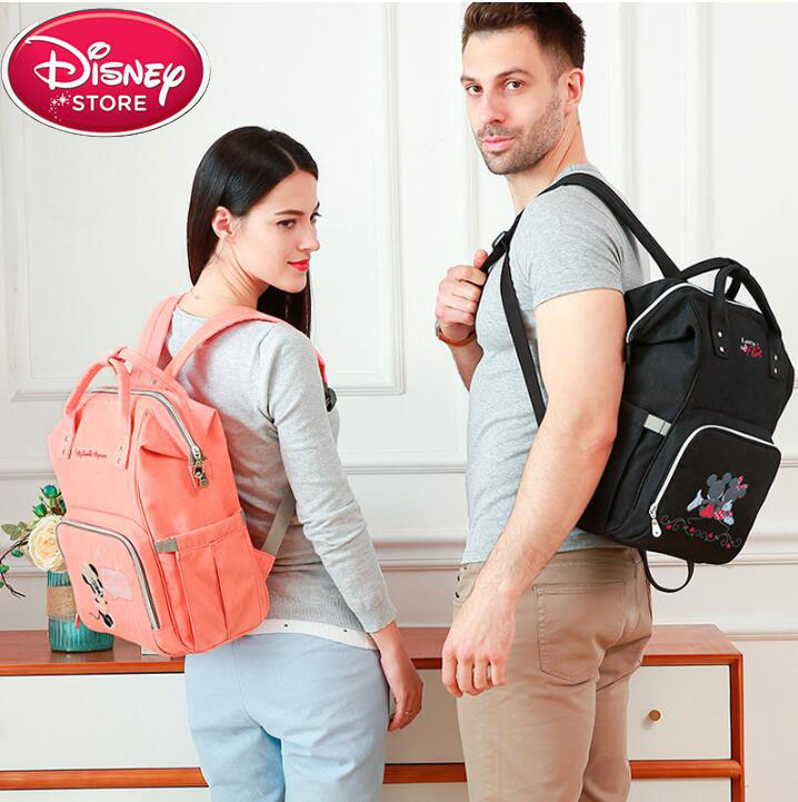 Disney Mickey Waterproof Diaper Bags Large Capacity USB Maternity Nappy Bag Baby Outdoors Travel Backpack Mummy Bag