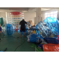 bumper soccer ball half blue half Clear 1.5m pvc Material Inflatable Crazy Footballs Bubble Soccer Human Bubble Balles For adult