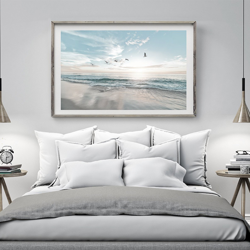 Nordic Seascape Beach Canvas Painting Seashell Larger Wall Art Nautical Coastal Poster Pictures for Bathroom Living Room Decor in Painting Calligraphy from Home Garden