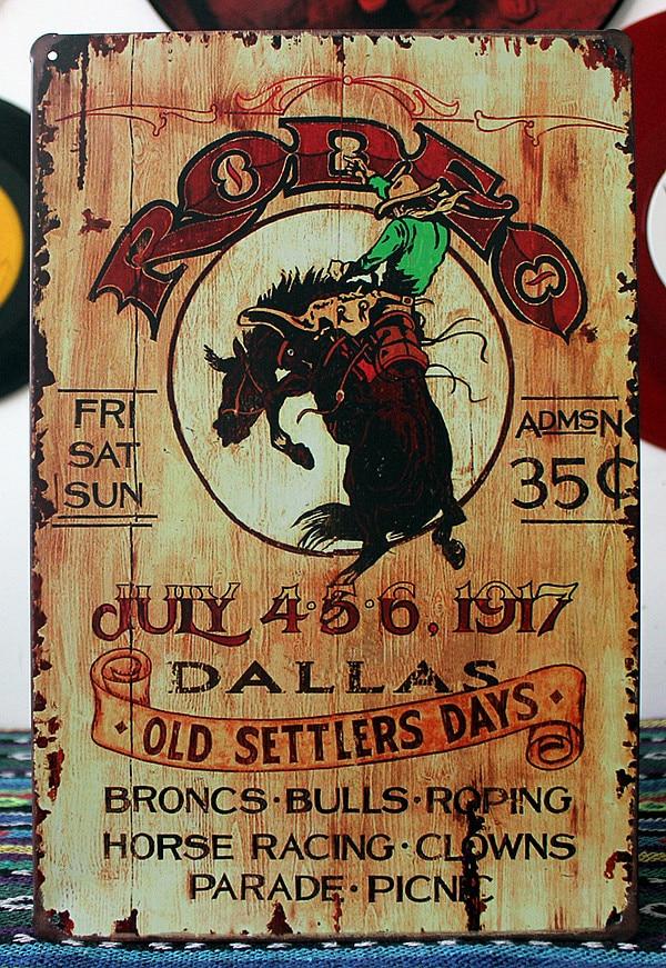 Retro Plakietka Emaliowana Dallas Stare Osadników Dni żelaza