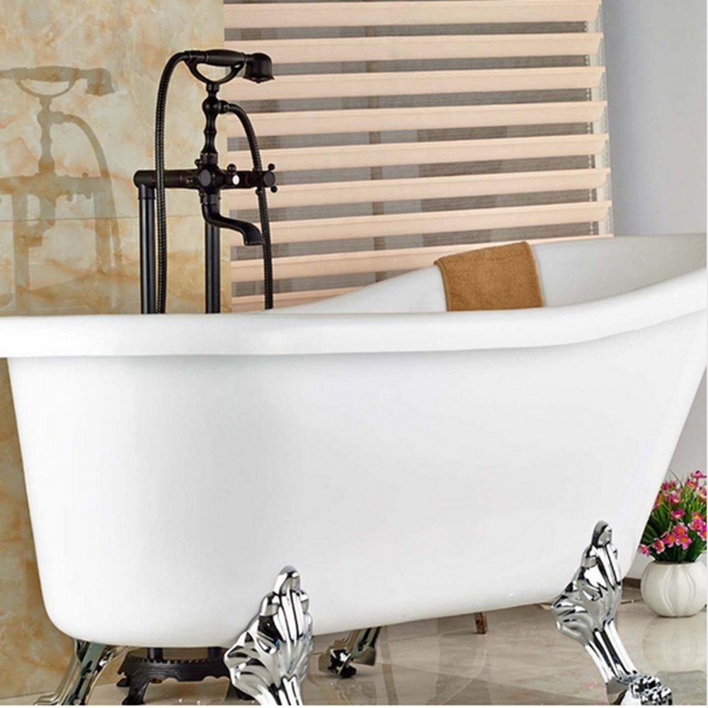 Oil Rubbed Bronze Bathroom Tub Faucet W/ Hand Shower Sprayer Solid Brass Mixer Tap