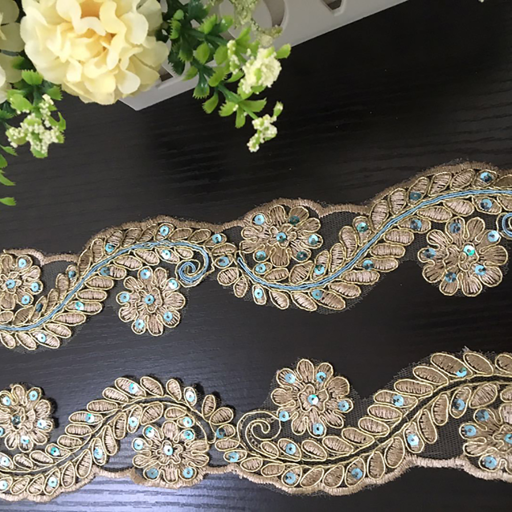 5Yards Gold Sequins Beaded Trimming Bridal Dress Applique Decorative Lace Trim Tape Sewing Apparel Accessories T2553