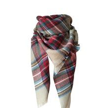 Winter Autumn Scarf Oversize Tartan Plaid Women Bandana Acrylic Scarf Shawl Wrap