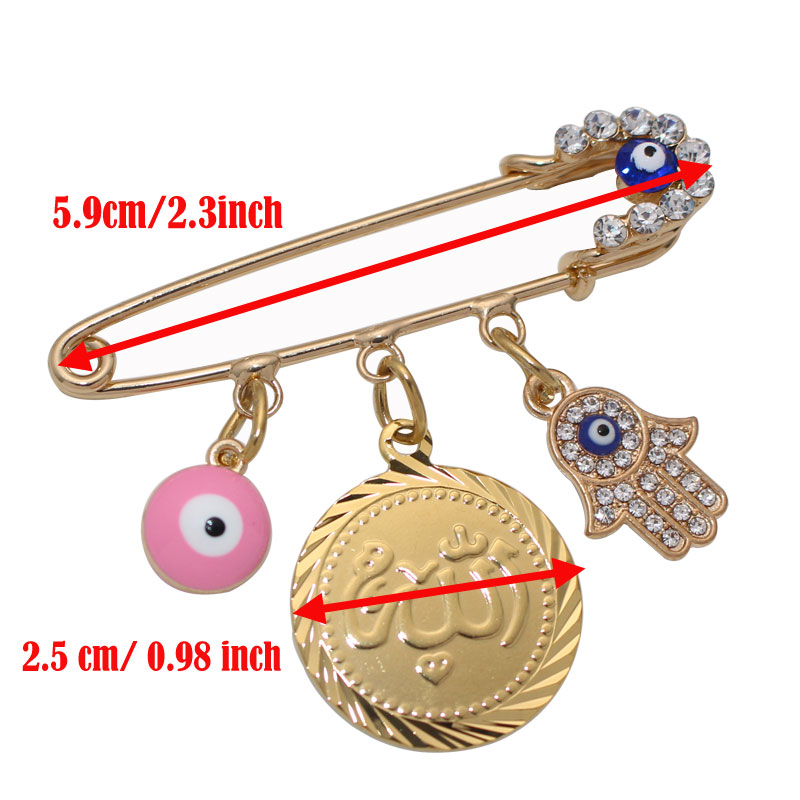 Image 2 - muslim Allah brooch Turkish evil eye baby pinBrooches