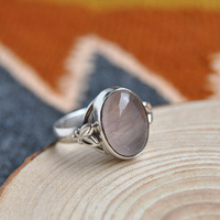 India Nepal Bali Island Hand Carved Silver Ring In Sterling Silver With 925 Natural Quartz Ring