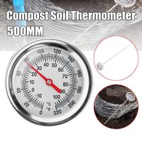 20in Compost Soil Thermometer Premium Stainless Steel Metal Probe Length 500MM