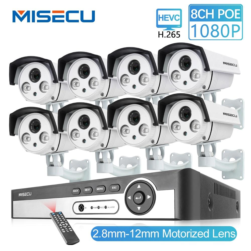 MISECU 8CH 48 V HD POE NVR 1080 P 2.0MP lente Zoom Auto 2.8-12mm POE Câmera IP p2P Onvif Impermeável ao ar livre kit câmera de Vigilância