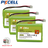 3pcs PKCELL NiMh Rechargeable Cordless Phone Battery Pack AAA 3 3 6V 600mAh For Agfeo DECT