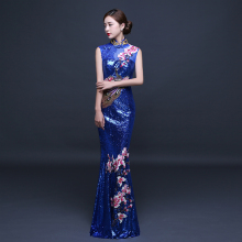 2018 summer women's tang suit casual formal dress sex evening dress the dishui sleeveless long qipao cheongsam