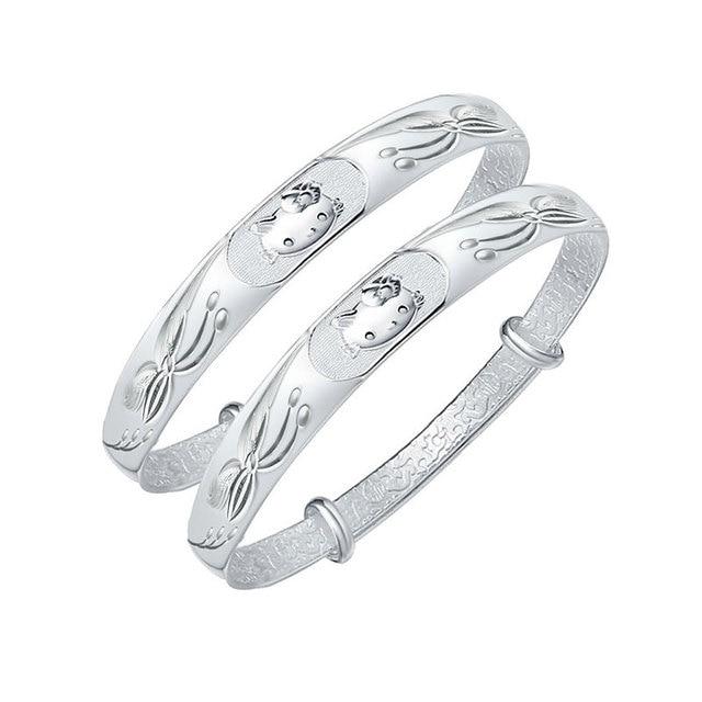 Robira 999 Fine Silver Bracelet Child Vintage Jewelry Hello Kitty Models Bangle Jewelry Wholesale Girl's Real Silver Bangles