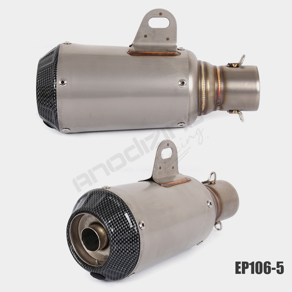 Universal Motorcycle Carbon Fiber Exhaust Inlet 51mm Escape Exhaust Mufflers Exhaust Pipe Stainless Steel Muffler