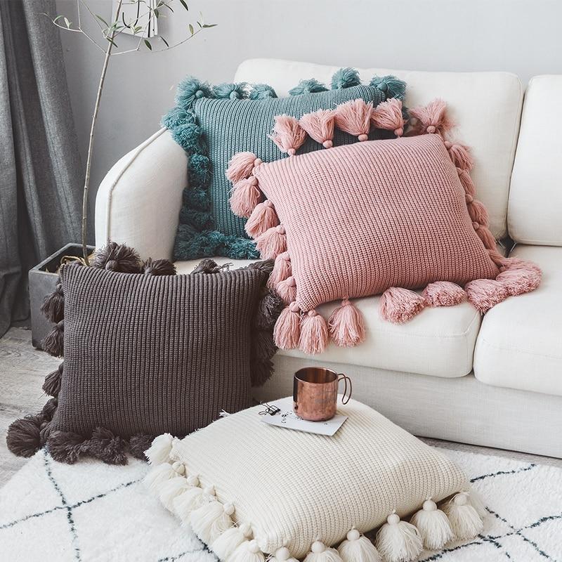 Вязаная наволочка для подушки, однотонная, цвета слоновой кости, серый, розовый, слоновой кости, зеленый, одноцветная наволочка 45*45 см, мягкая, для дивана, кровати, детской комнаты, декоративная Наволочка      АлиЭкспресс - Красивые подушки