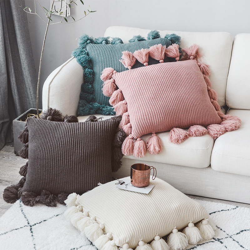 Knitted Cushion Cover Solid Color Pillow Case With Tassle 45*45cm  For Sofa Bed Nursery Room Decorative Pillowcase Home Decor