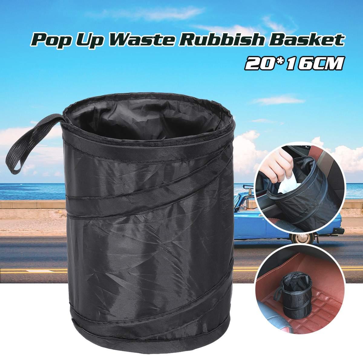 Foldable Car Auto Trash Can Litter Bag Black Garbage Bin Barrel Dustbin Storage Box
