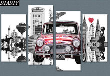 4 pcs,5d Diamond embroidery London,Girl/mini car,diy 5d diamond painting cross stitch,diamond mosaic home decor,round canvas(China)