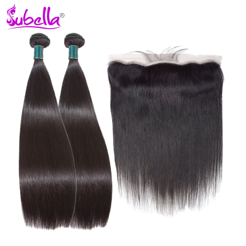 Subella Peruvian straight wave Hair Weave 2 Bundles With Frontal Human Hair Bundle and 13x 4 Lace Frontal Closure with Bundles