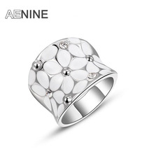 AENINE Fashion Austrian Crystal White Flower Ring White Gold-color Women Jewelry for Chirstmas anneau anel Anillo L2010422325