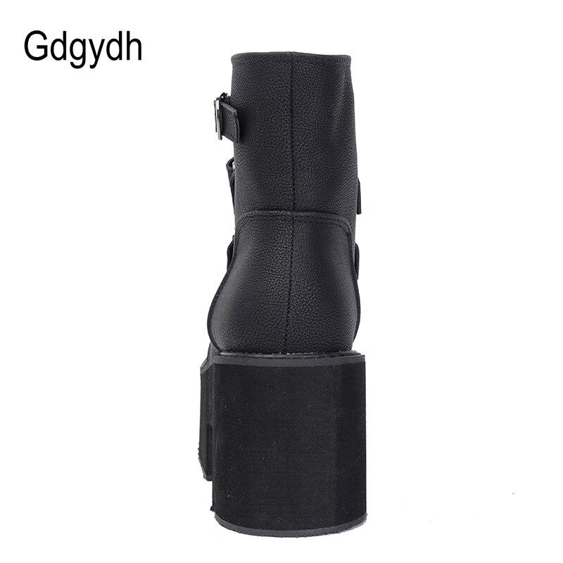 Gdgydh Printemps Automne bottines Femmes Plate-Forme Bottes semelle en caoutchouc Boucle Noir En Cuir PU talons hauts chaussures pour femme Confortable - 3