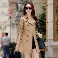 Nueva primavera slim fit pecho doble capa de foso para las mujeres con cinturón color puro mujer abrigo casual tamaño m-4xl 5-colores FY1