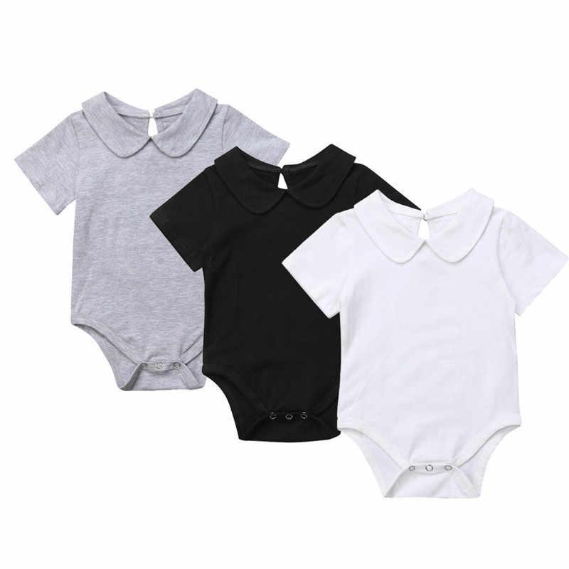 Однотонные Детские боди с воротником «Питер Пэн» для новорожденных девочек; Летние Боди и комбинезон с короткими рукавами; цвет черный, белый, серый