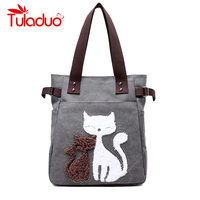 Women Shoulder Bags Female Printing Cat Canvas Handbag Ladies Large Capacity Casual Totes Bag Female Famous