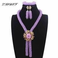 Fashionable African Beads Jewelry Set Lilac Purple Costume Nigerian Wedding African Bridal Jewelry Set Free Shipping HD7759