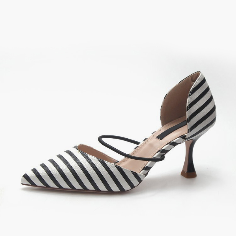 Femme De Pantoufles Sandales Chaussures Polka Printemps Sexy Mince Stripe Pointu Haute On Mode Dot Pompes Talons Dot Dames stripe Khtaa Slip Bout Femmes wYaRIq