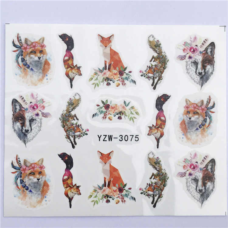 Nail Sticker Water Decals Wolf Fox Nail Slider Accessoires Art design Decoration Manicure Foil Adhesive Wraps Pegatinas Polish