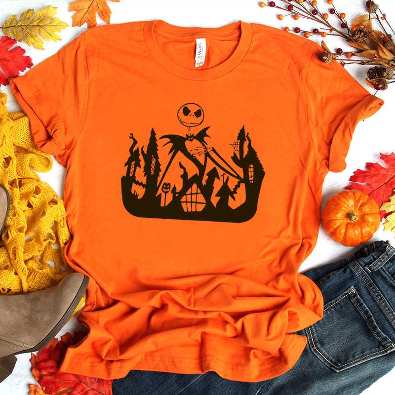 Festival Halloween Cetak Musim Panas Wanita Labu Spoof Harajuku Streetwear Kaos Katun Kasual Punk Gothic Drop Pengiriman