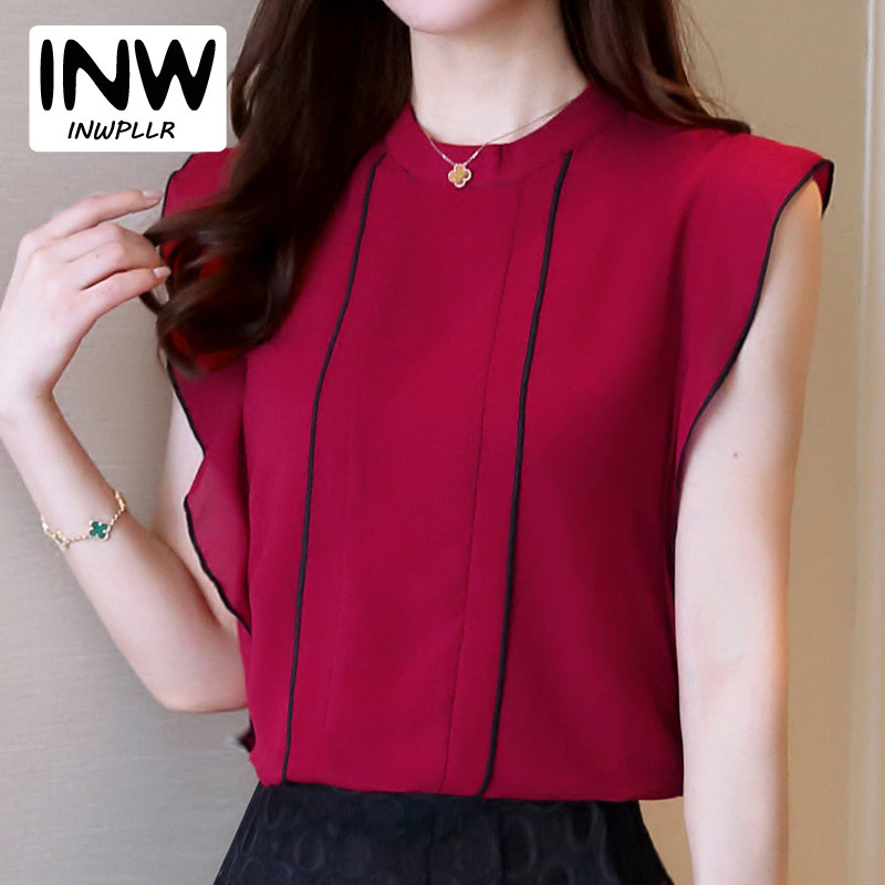 2018 New Fashion Chiffon Blouse Shirt Women Short Sleeve Womens Tops And Blouses Mujer Ruffle Shirt Summer Tops Blusas Femininas