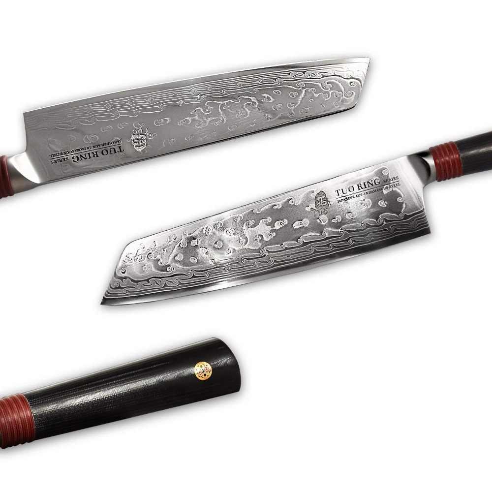TUO Cutlery Kiritsuke Knife - Damascus Nakiri Kitchen Knives -Japanese AUS-10 HC Stainless Steel Chef Knife - G10 Handle - 8.5''