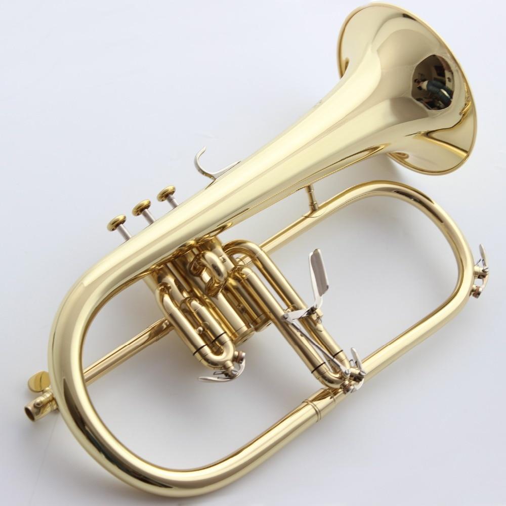 Музыка Fancier клуб Профессиональный flugelhorn 183 золотой лак с чехол для профессиональных flugelhorn s Bb желтый Латунный Колокольчик
