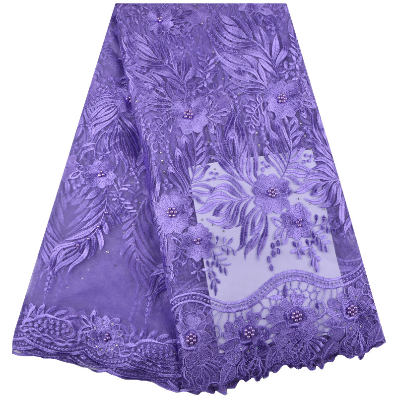 African Lace Fabric 2019 High Quality Lace Nigerian Lace Fabric With Beaded Embroidery Tulle French Lace