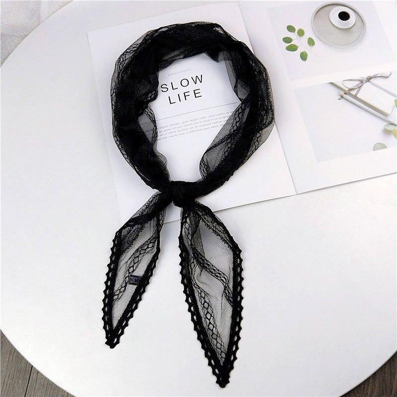 2019 New Summer Black White Pink Green Lace   Scarf   Women Ladies Stewardess Silk Neck Hair Tie Head   Wrap     Scarves   Kerchiefs Foulard