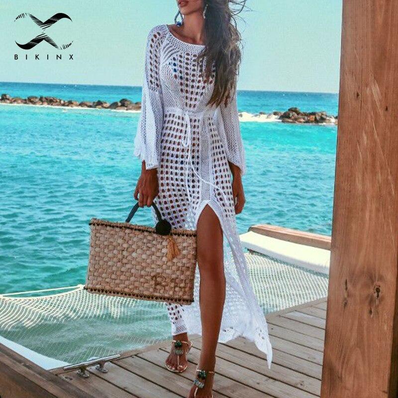 25bf823ba76b Bikax ahueca hacia fuera el Vestido de playa de moda hasta el tobillo  blanco kafan cubrir-ups ropa ...