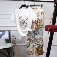 HIGH STREET New Stylish 2019 Runway Suit Set Women's Sequined Short Sleeve T shirt Floral Pants Set