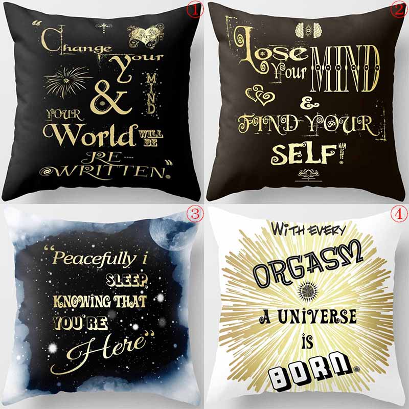 Creative design english letters world mind men women square pillow case snow pattern case in Pillow Case from Home Garden