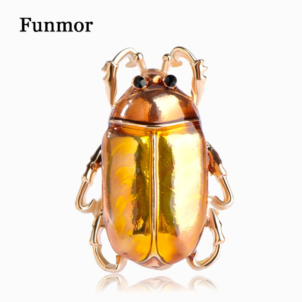 Vivid Enamel Cockroach Shape Brooches Gold-color Ladybug Insect Collar Clip Dress Jeans Pins Decoration Animal Men Broches Mujer Top