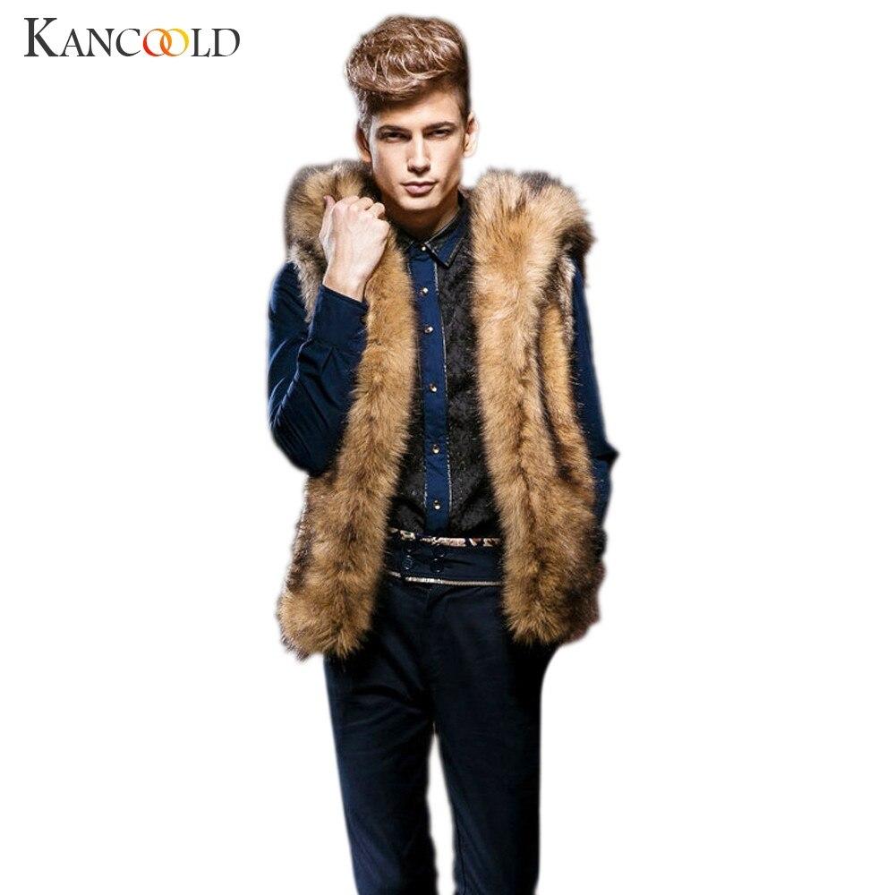 2016 New Winter Warm Waistcoat Luxury Men Faux Fur Vest Jacket Sleeveless Male Warm Coat Hooded Waistcoat Gilet Plus Size Nov29