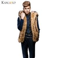 2016 New Winter Warm Waistcoat Luxury Men Faux Fur Vest Jacket Sleeveless Male Warm Coat Hooded
