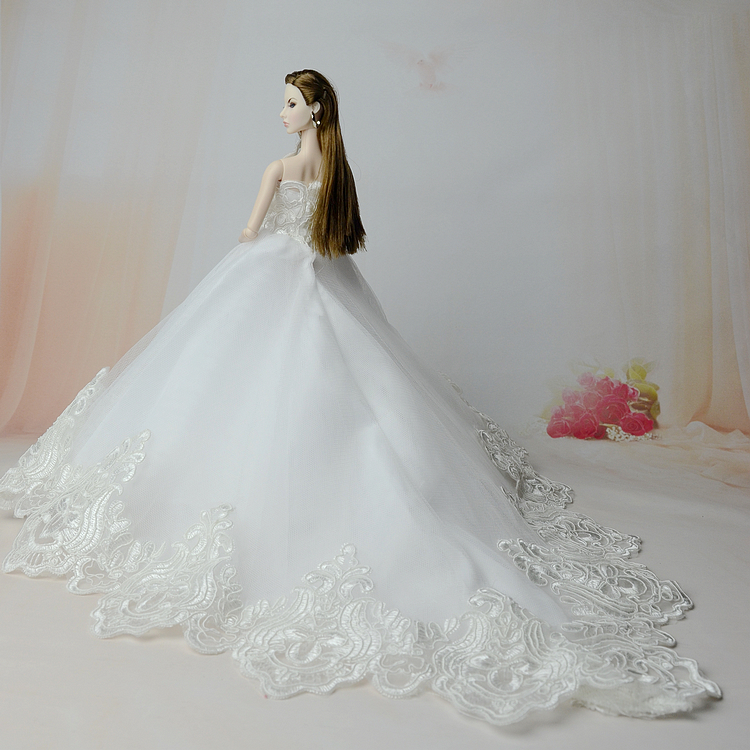 c884a675fe06 Κούκλες   παραγεμισμένα παιχνίδια Gorgeous White Wedding Dress   Trailing  Party Gown Outfit Clothing For 1 6 Barbie Xinyi Kurhn FR Doll Toys for  Children ...