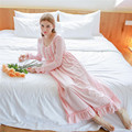 Autumn Pink Sweet Sexy Long Sleep Lounge Cotton Sleepwear Female Home Dress Lace Princess Vintage Nightgown Women Sleeping Dress