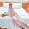 Autumn Pink Sweet Sexy Long Sleep Lounge Cotton Sleepwear Female Home Dress Lace Princess Vintage Nightgown Women Sleeping Dress