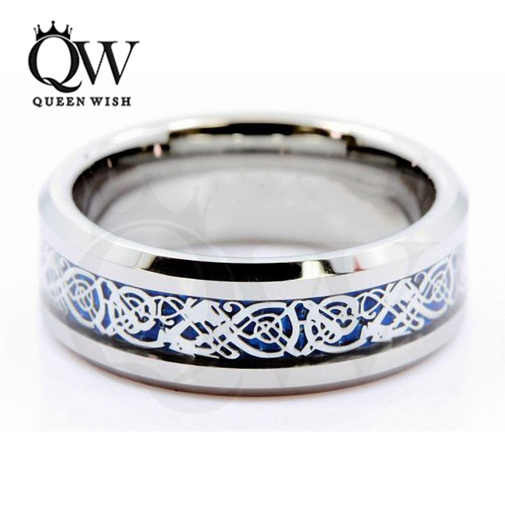 Queenwish 8mm Blue Silvering Celtic Dragon Tungsten Carbide Ring