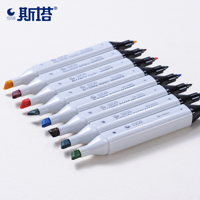 STA 30 40 60 80 Color Dual Head Art Marker Set Alcohol Sketch Markers Pen for Artist Drawing Manga Design Art Supplier in Art Markers from Office School Supplies