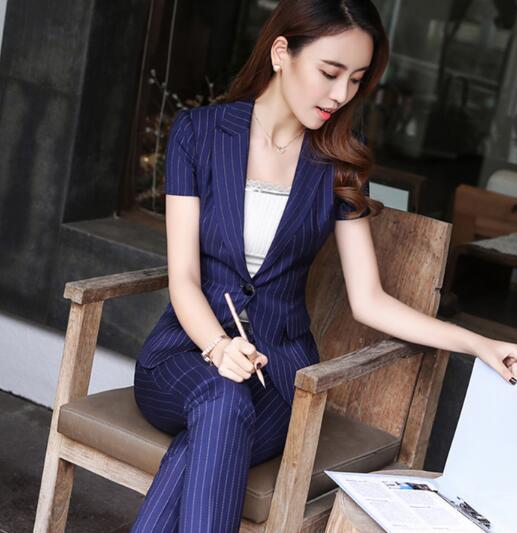 2 Stücke Set Gestreifte Hose Anzug Sommer Kurzarm V-ausschnitt Formelle Uniform Style Frauen Bürodame Arbeit Jacke Mit Hosen B286 Elegant Im Stil