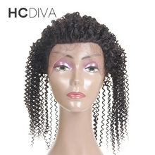 HCDIVA 360 Lace Frontal Afro Kinky Curly Lace Closure Natural Color Non Remy Brazilian Human Hair