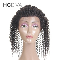 HCDIVA 100 Human Hair 360 Lace Frontal With Adjustment Natural Color 8 To 18 Brazilian Curly