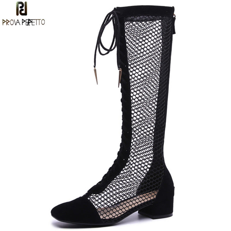 Prova Perfetto New Brand Design Fishnet Patchwork Boots Shoes Laces Front Cross Tied Hollow Out Boots Women Spring Summer BootsProva Perfetto New Brand Design Fishnet Patchwork Boots Shoes Laces Front Cross Tied Hollow Out Boots Women Spring Summer Boots